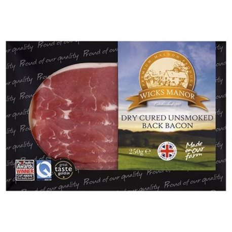 UN-SMOKED BACK BACON 250G (LONDON ONLY)
