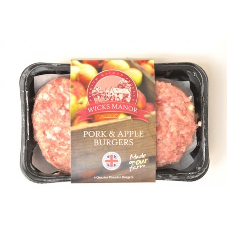 WICKS MANOR PORK & APPLE BURGERS 454G